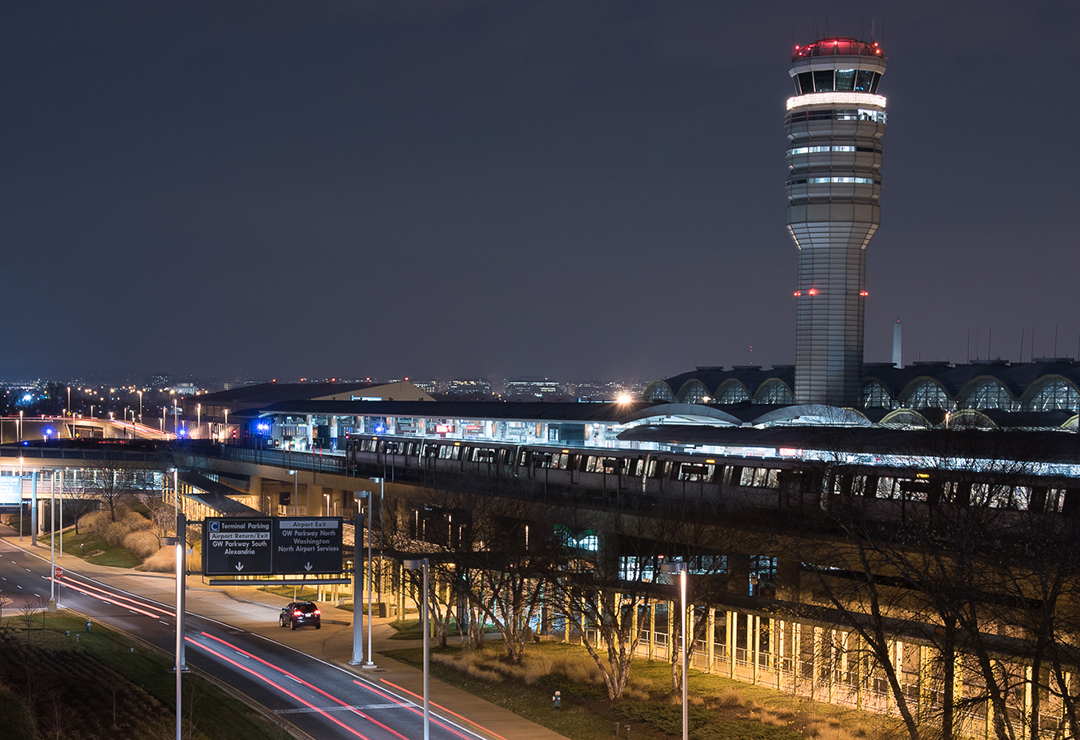 National Airport at night