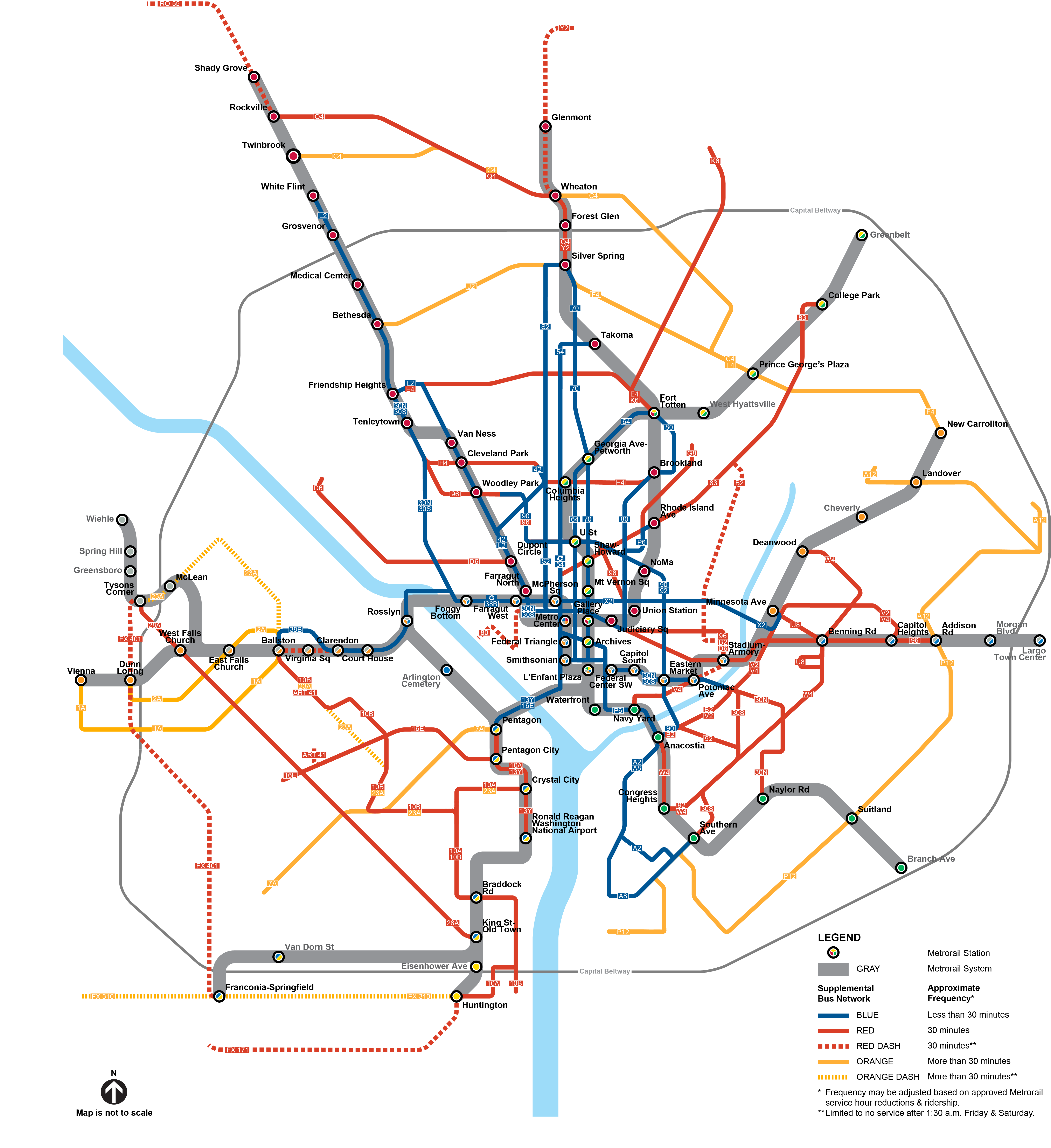 Proposed service map for Metrobus under proposed Metrorail hours