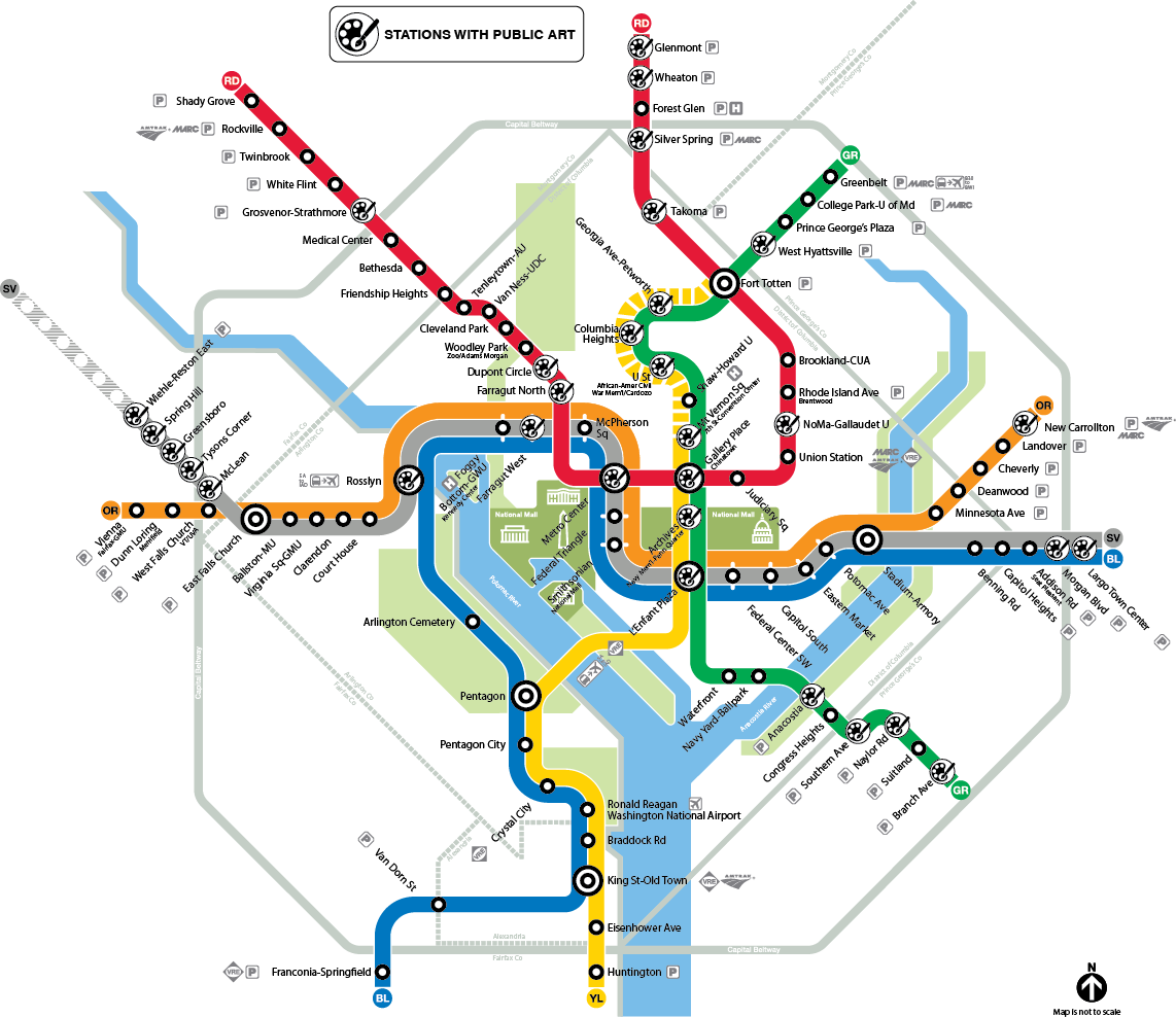 Metrorail map of stations with art
