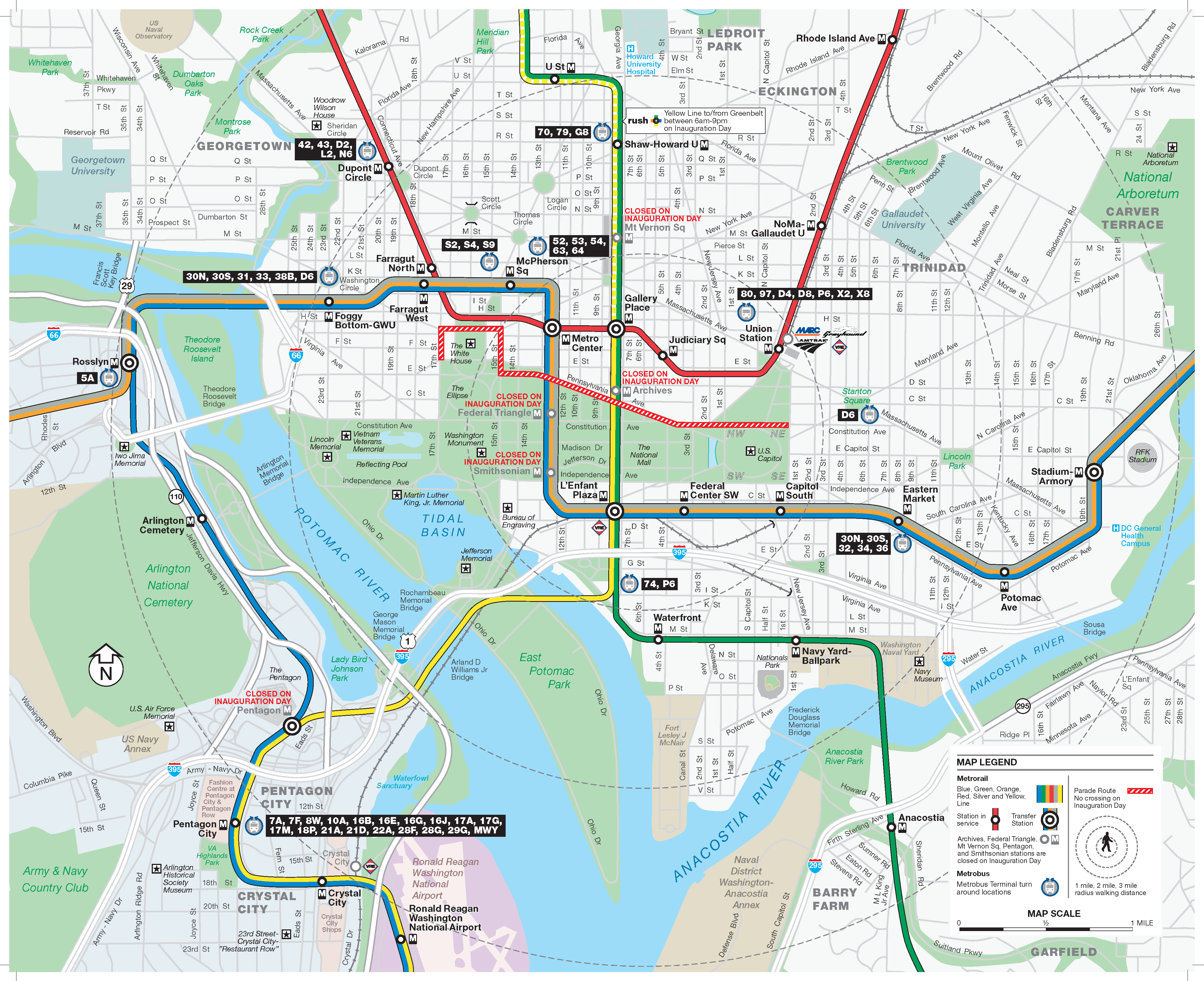 Inauguration Street Map w/ Metrobus