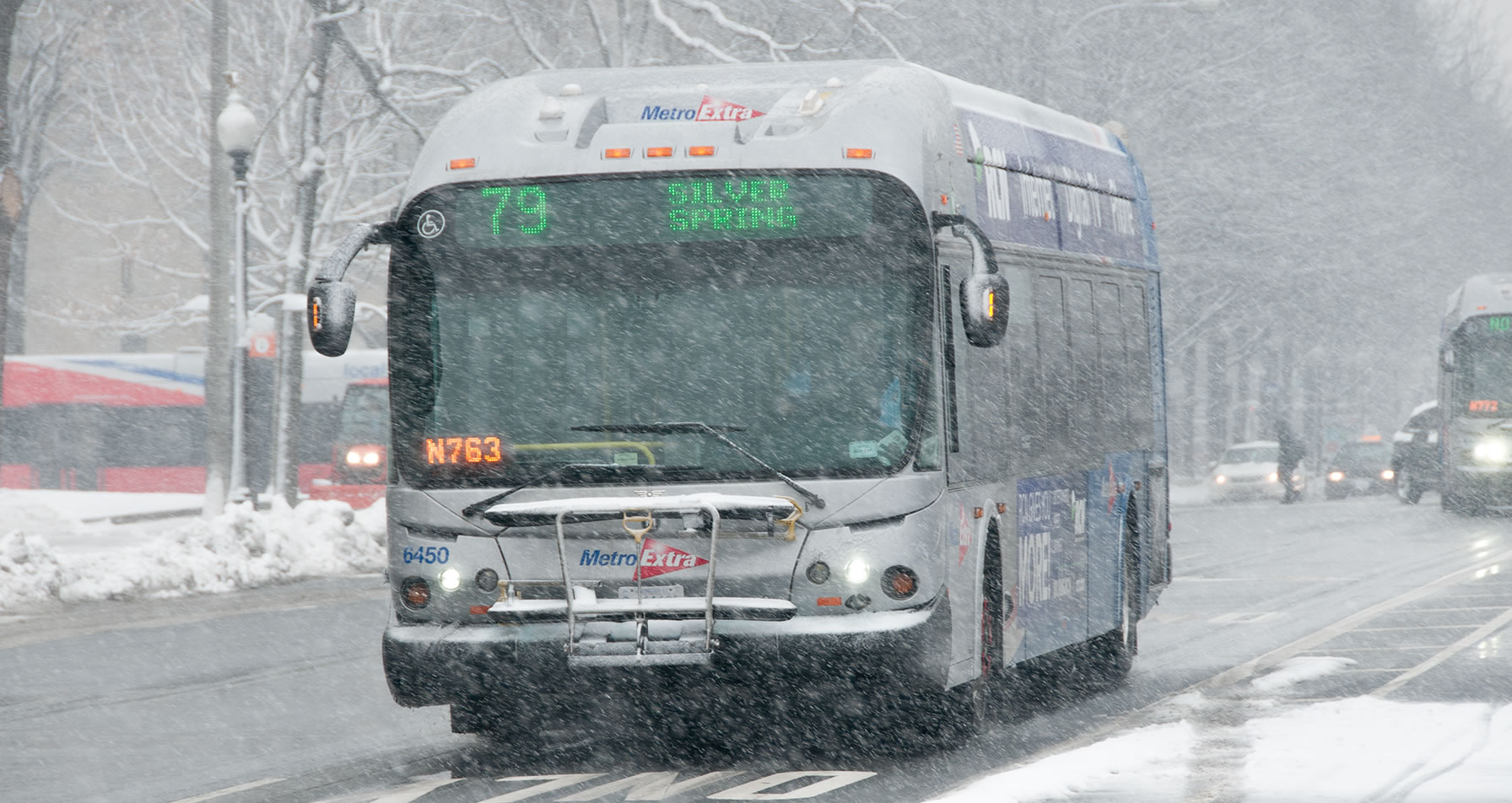 Silver Spring bus in snow