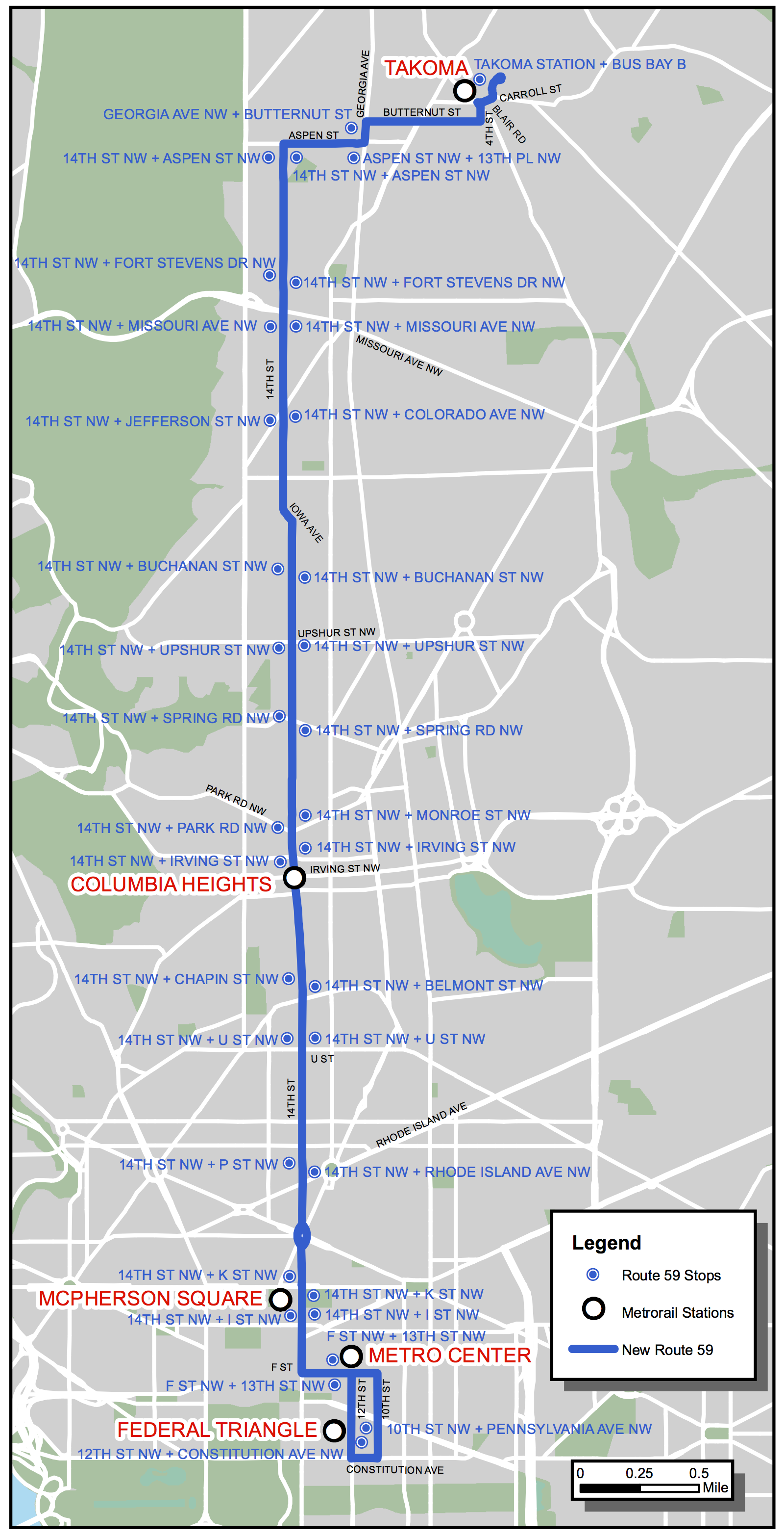MetroExtra 59 route map