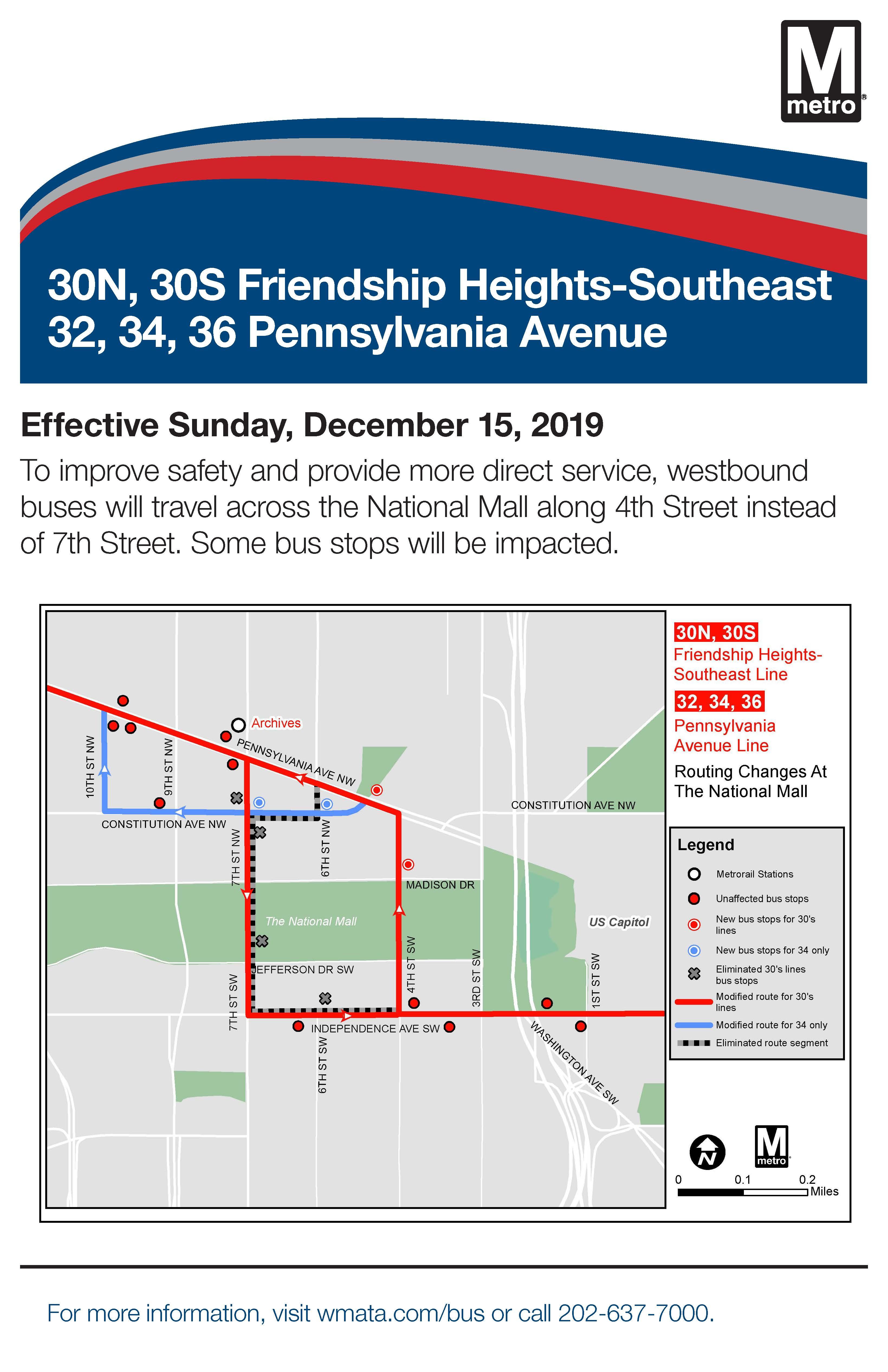 Metrobus Service Changes Beginning Sunday December 15